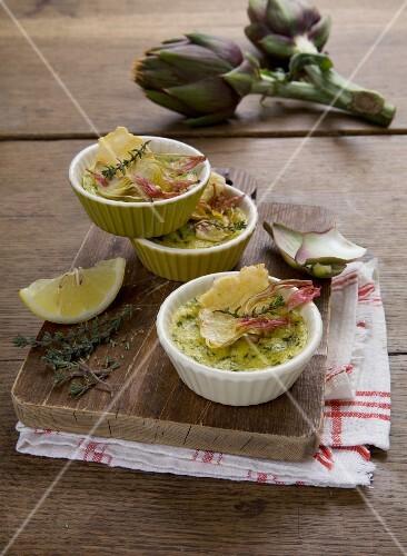 Sformatini ai carciofi (artichoke bake in ramekins)