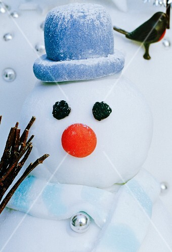 close up of icing snowman with hat