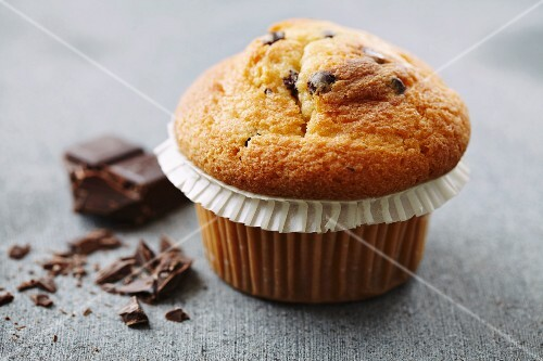 A chocolate chip muffin