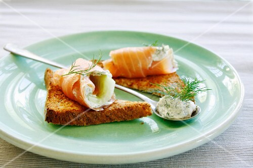 Rolled salmon filled with horseradish cream and cucumber