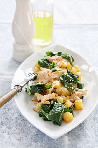 Pan-fried chicken with spinach and potatoes