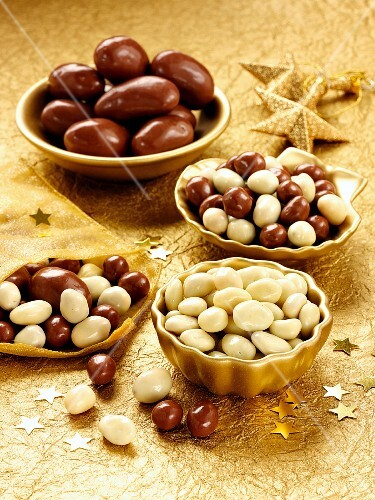 Assorted chocolate covered nuts, for Christmas