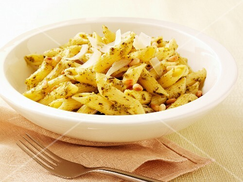 Penne with pesto, pine nuts and parmesan