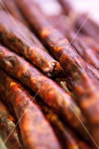 Several chorizo sausages (close-up)