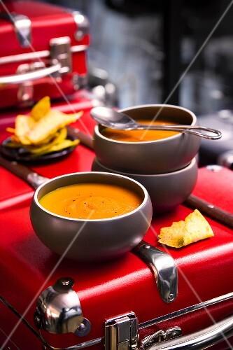Pumpkin soup with pita crisps