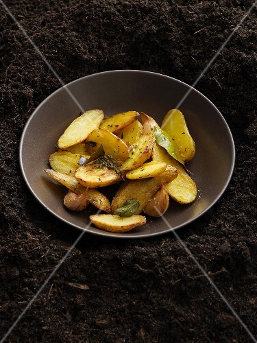 Fried potatoes with herbs and garlic