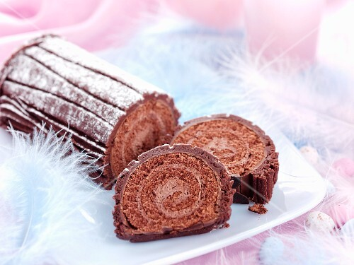 Chocolate Swiss roll for Easter