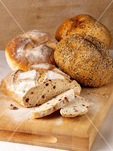 Cranberry bread and seeded bread