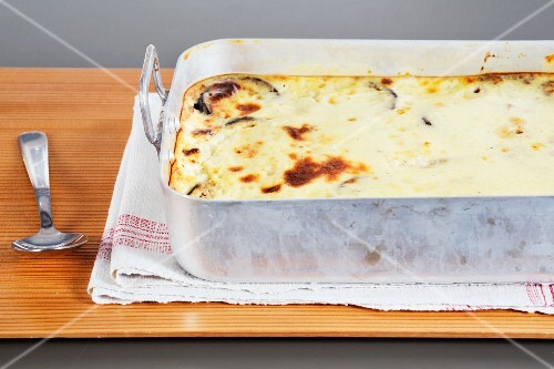 Moussaka in a baking dish