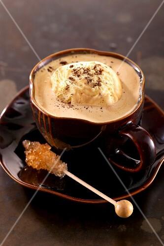 Affogato al caffè (espresso with vanilla ice cream, Italy)