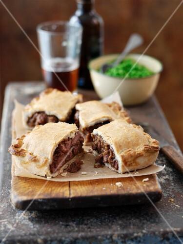 Beef pie cut into pieces