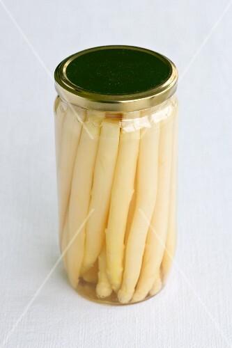 A jar of preserved white asparagus