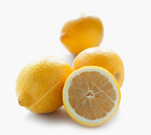 Lemons, whole and halved