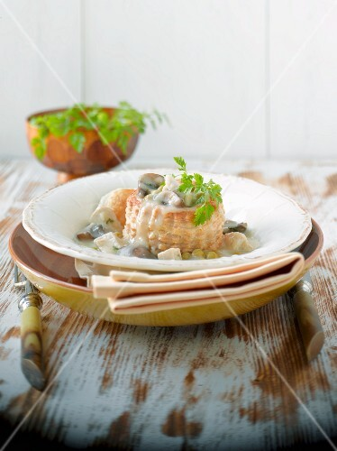 Puff pastry vol-au-vent filled with chicken and mushrooms