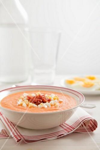Salmorejo (cold tomato soup, Spain) with egg
