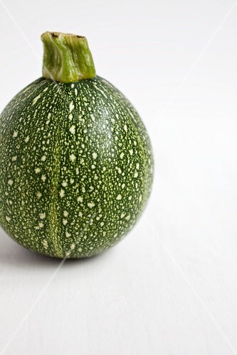Single spherical courgette against white