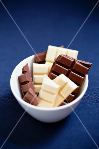 Chunks of white and dark chocolate in a bowl