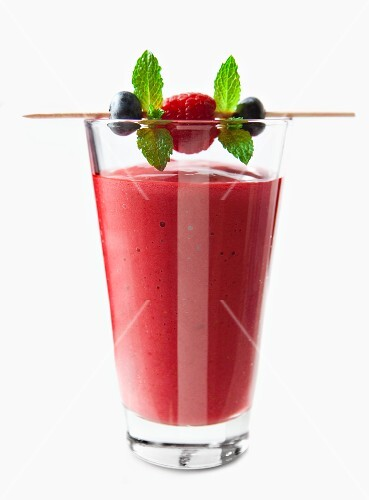 A raspberry and blueberry smoothie