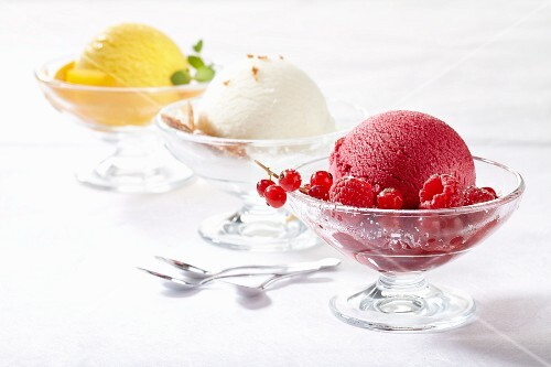 Assorted ice cream in sundae dishes