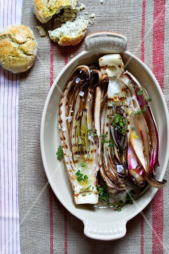 Grilled Radicchio di Treviso with poppy-seed scones