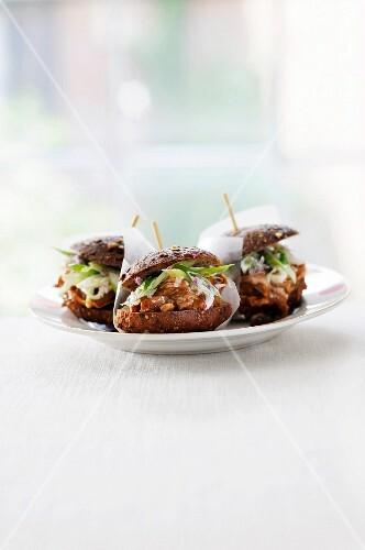 Jerked Beef Sliders on Multi-Grain Slider Rolls with Toothpicks