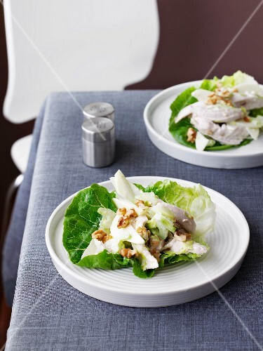 Chicken salad with apple, celery and walnuts