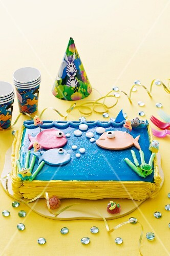 A sea-themed birthday cake for a child