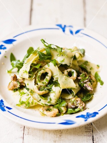 Ribbon pasta with herbs and calamari