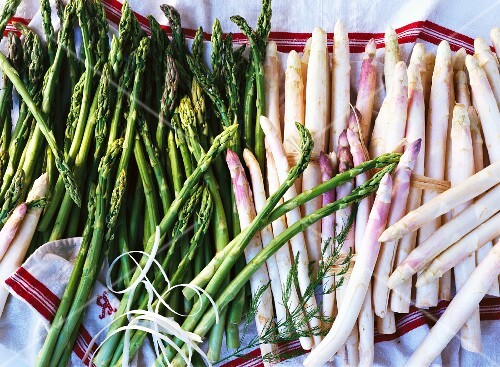 Green and white asparagus on a tea towel