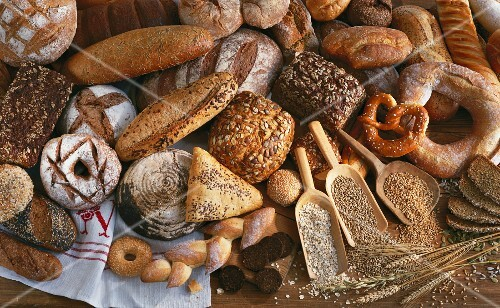 A still life of bread and cereals