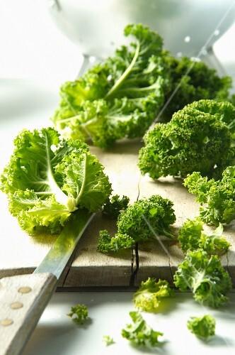 Kale on a chopping board