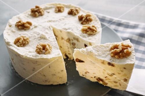 food, sweet food, pie, tart, semifreddo, walnuts, date, cream, frozen, dessert