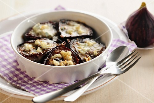 Baked Figs With Blue Cheese, selective focus