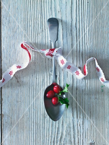 Cranberries on a spoon tied with a ribbon