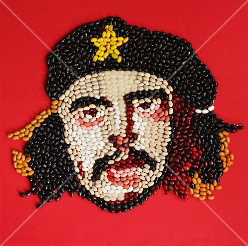 The face of Che Guevara made using jelly beans