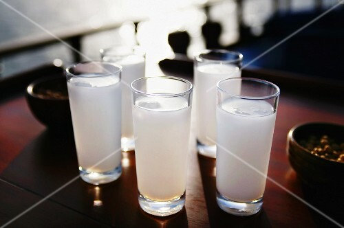 Five glasses of Raki with water (aniseed schnapps, Turkey)