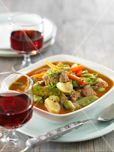 Beef and vegetable stew with red wine