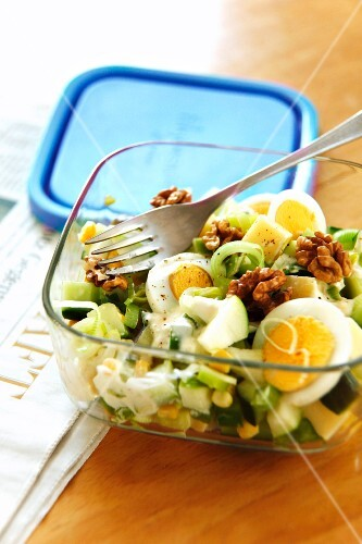 Green apple salad with cheese and eggs