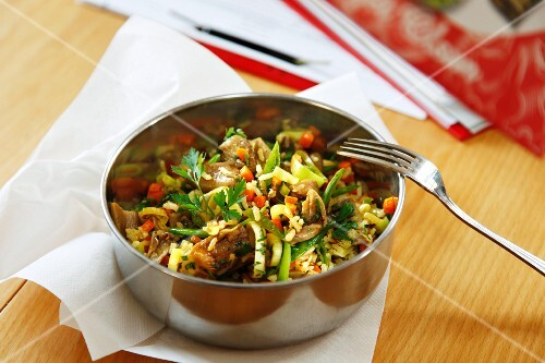 Vegetable rice with oyster mushrooms