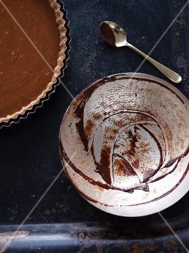 The remains of ganache in a bowl