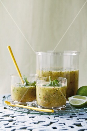 Spicy pineapple and cucumber gazpacho in glasses