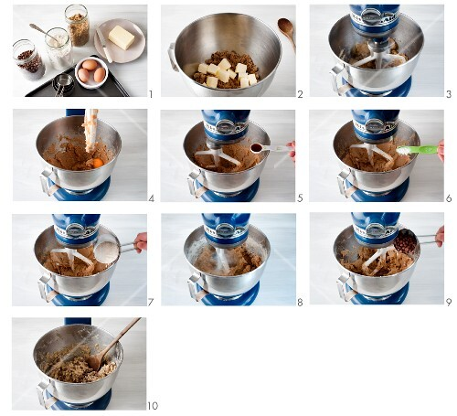 Mixture for chocolate chip cookies being prepared in a food processor