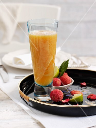 Pineapple, lychee and papaya cocktail