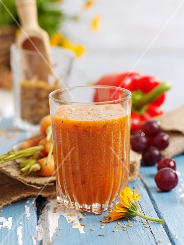 Red pepper, carrot and orange drink