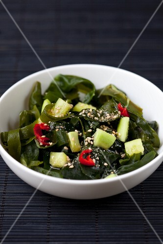 Wakame salad with cucumber, chillies and sesame seeds (Japan)