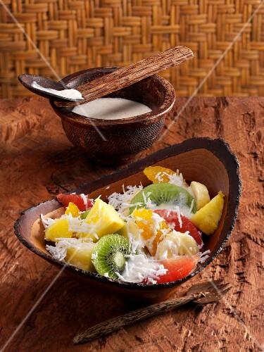 Fruit salad with coconut cream