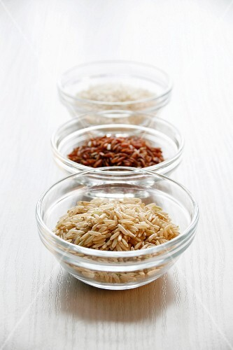 An Assortment of Rices in Bowls; From Above