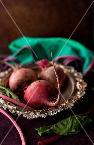 Three Fresh Beets on a Small Silver Tray