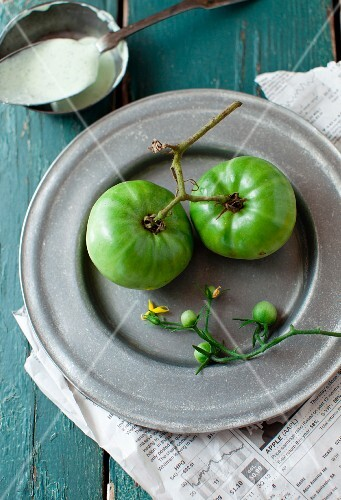 Green Tomatoes on a Metal Plate