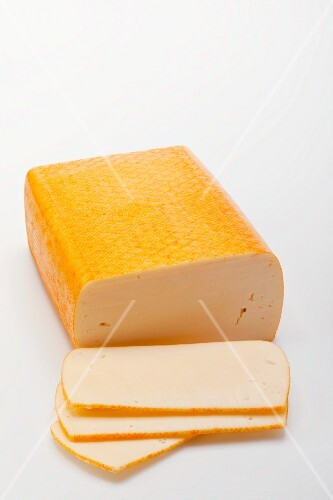 Butterkäse (mild, semi-soft cheese), partly sliced